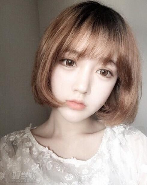 韩式空气刘海短发,超适合夏天的发型