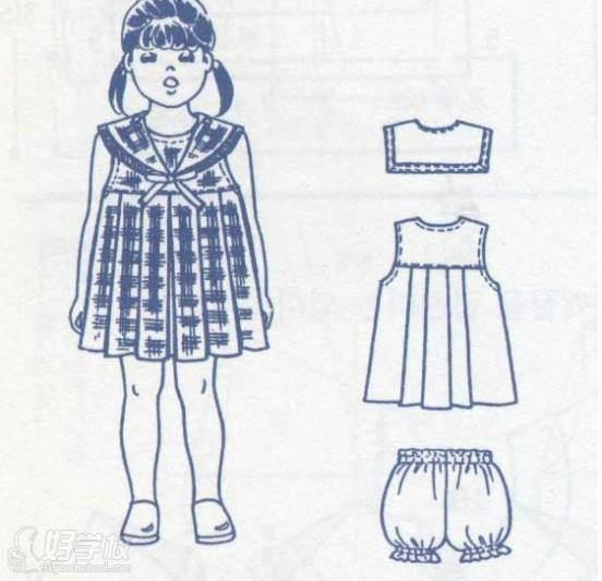 童装模特手绘线稿
