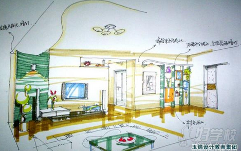 完成室内设计的手绘效果图,表现室内气氛,陈设,灯光,装饰材料和色彩等
