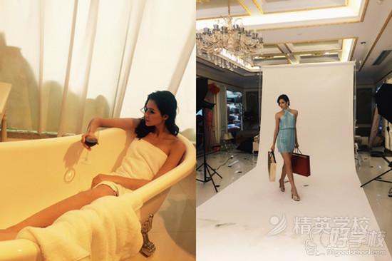广告拍摄现场.模特们拍广告时专业的演出让现场更显魅力.