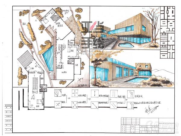 2,室外建筑二点透视基本原理讲解,城规建筑鸟瞰图基本原理讲解