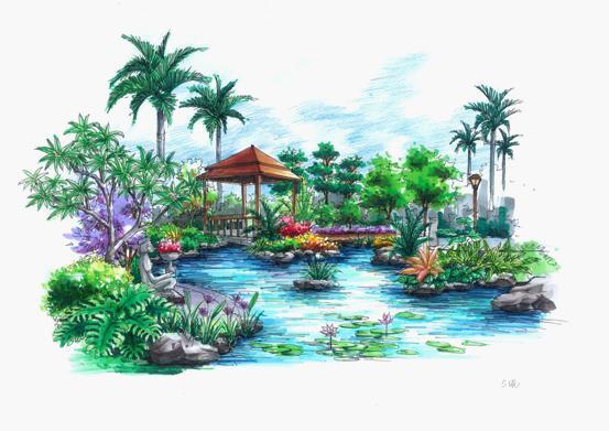 广州塔马克笔手绘图
