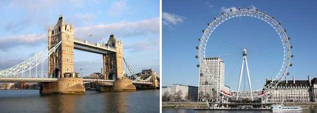 伦敦塔桥与伦敦眼