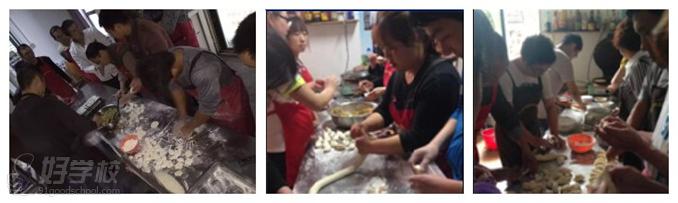美味居的学员们在制作饺子