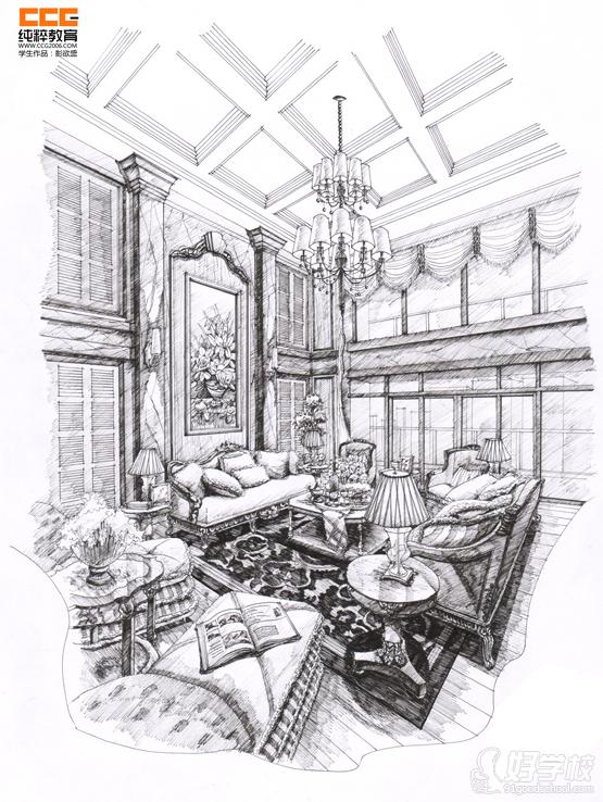 纯粹室内手绘学生作品组图-广州纯粹教育-好学校