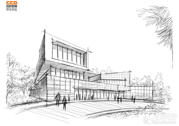 纯粹手绘教育最新建筑学生新作-广州纯粹教育-好学校