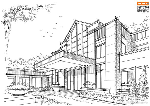建筑空间结构素描图片