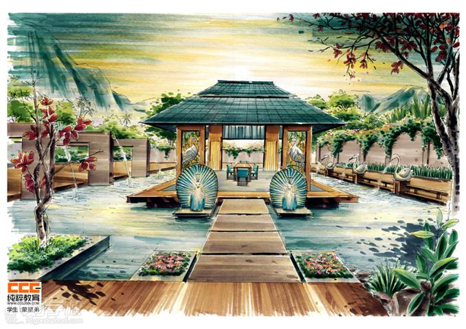 景观手绘平面图 马克笔亭子