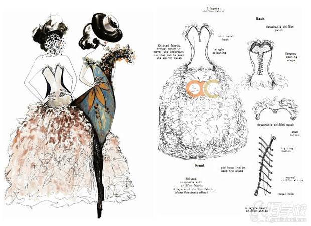学员服装手绘设计作品展示图片