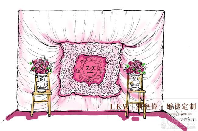 简约而不简单的婚礼留影区手绘设计效果图
