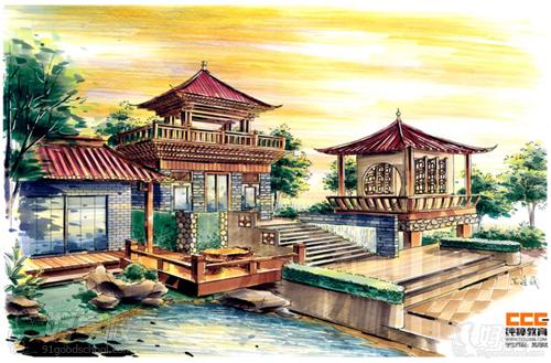 欧式别墅建筑马克笔手绘图片