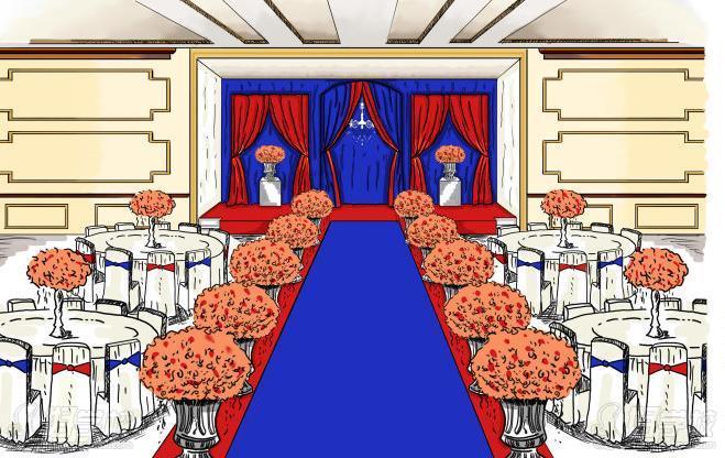 2,婚礼单体道具绘画技巧(路引,舞台帷幔,花门,花亭,道具)